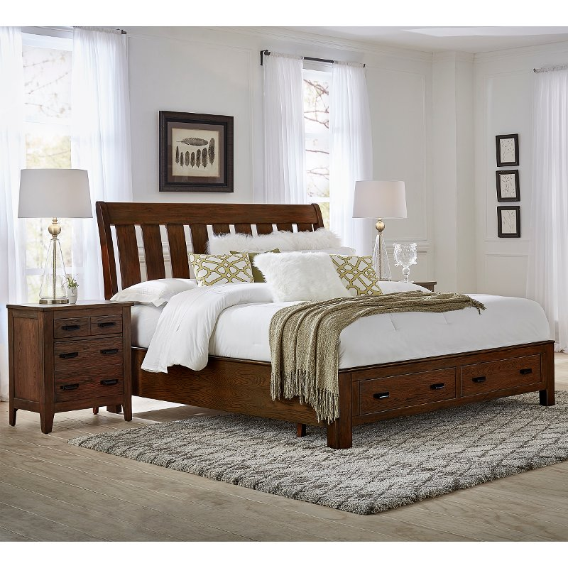 Willey Furniture: Classic Brown Queen Storage Bed - Country Roads