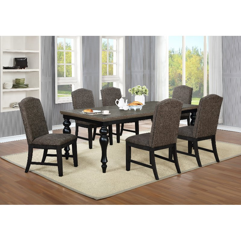Black And Brown 5 Piece Dining Set With Upholstered Chairs Mariella