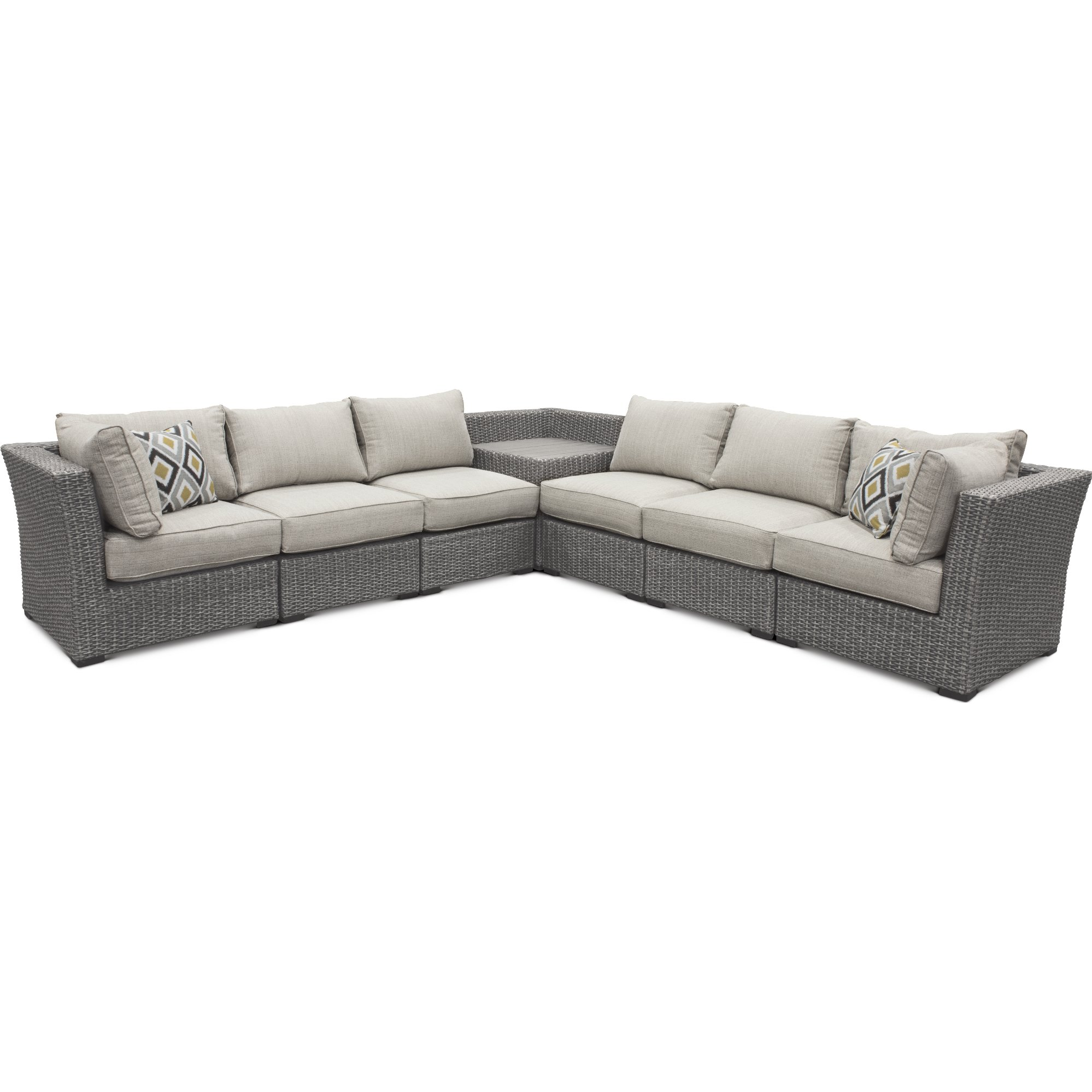Wicker 7 Piece Patio Sectional with Storage - Tahoe