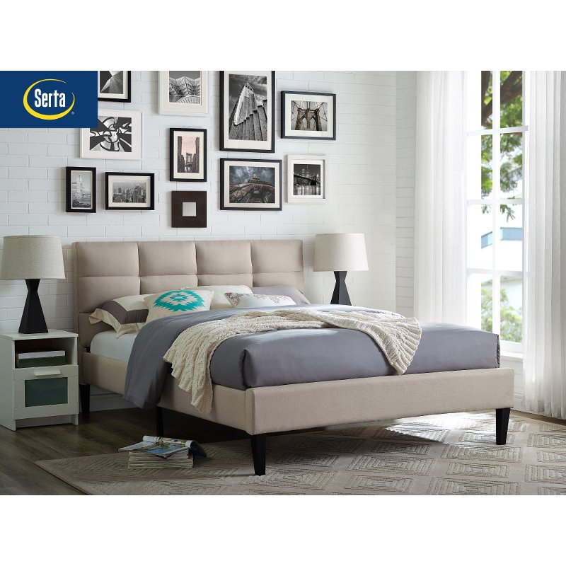 Modern Beige Upholstered Queen Platform Bed Charlotte Rc Willey Furniture Store