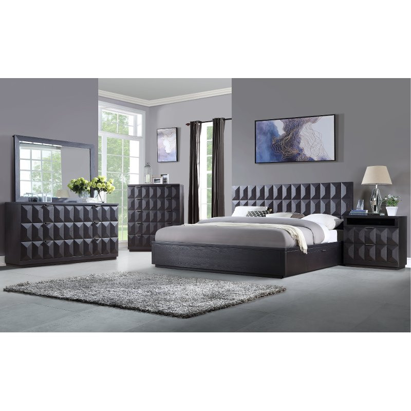 Modern Brown 4 Piece King Bedroom Set - Maddax