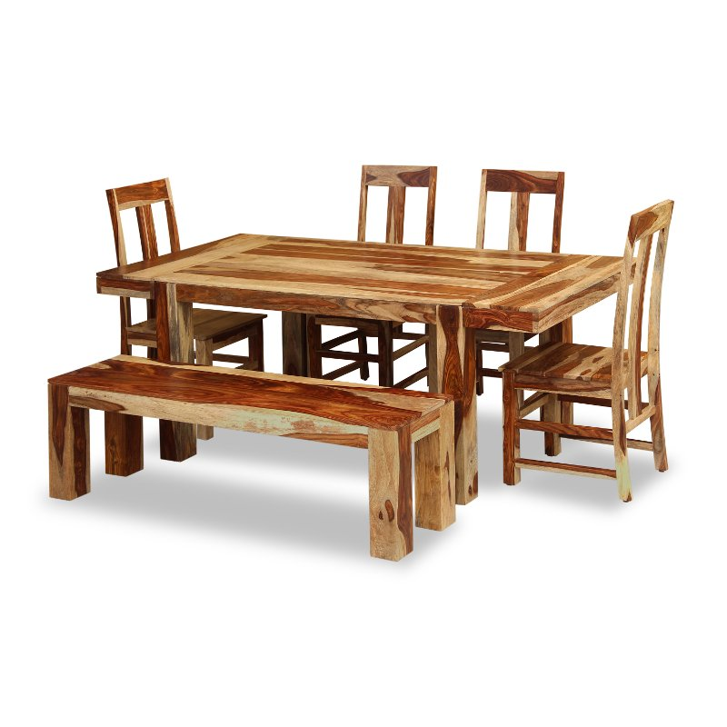 Natural Sheesham Rustic 6 Piece Dining Set   Tahoe Two   RC Willey Furniture  Store