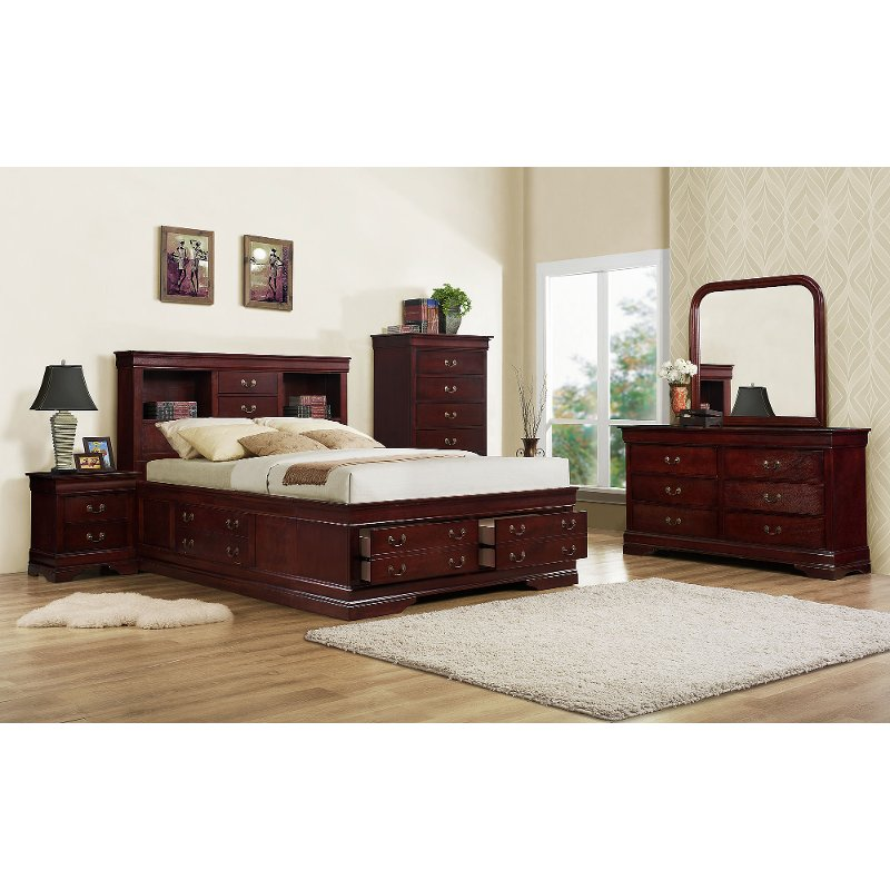 Classic Cherry 4 Piece Twin Bedroom Set - Bordeaux