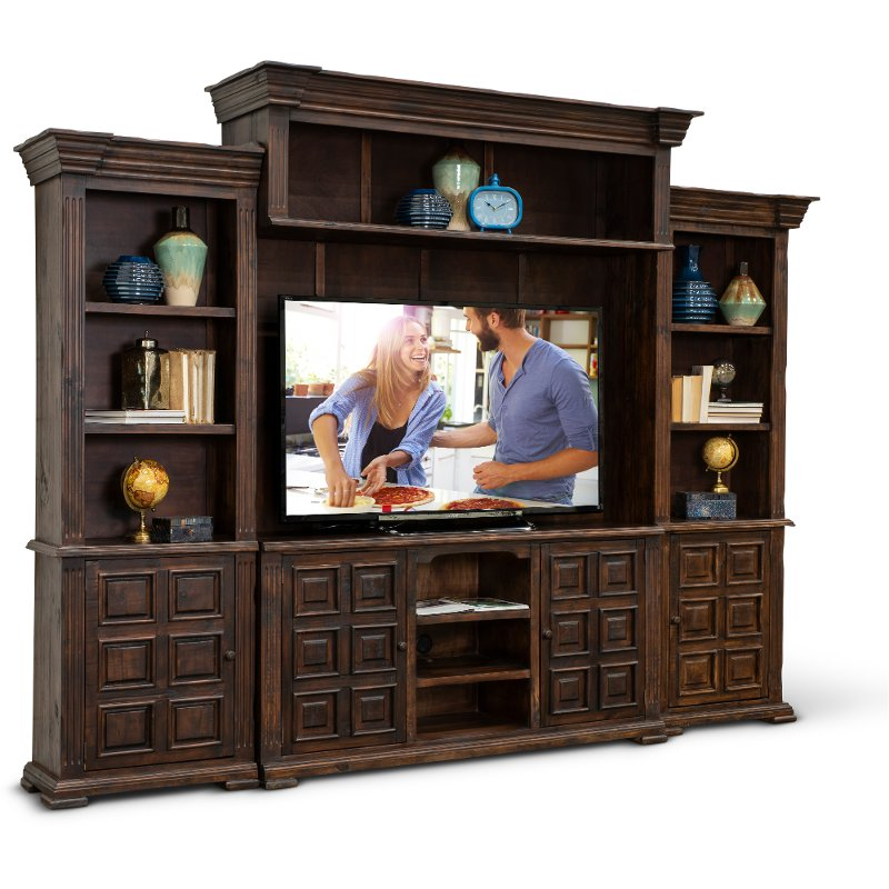 Brown 4 Piece Entertainment Center Marquis Rc Willey Furniture Store