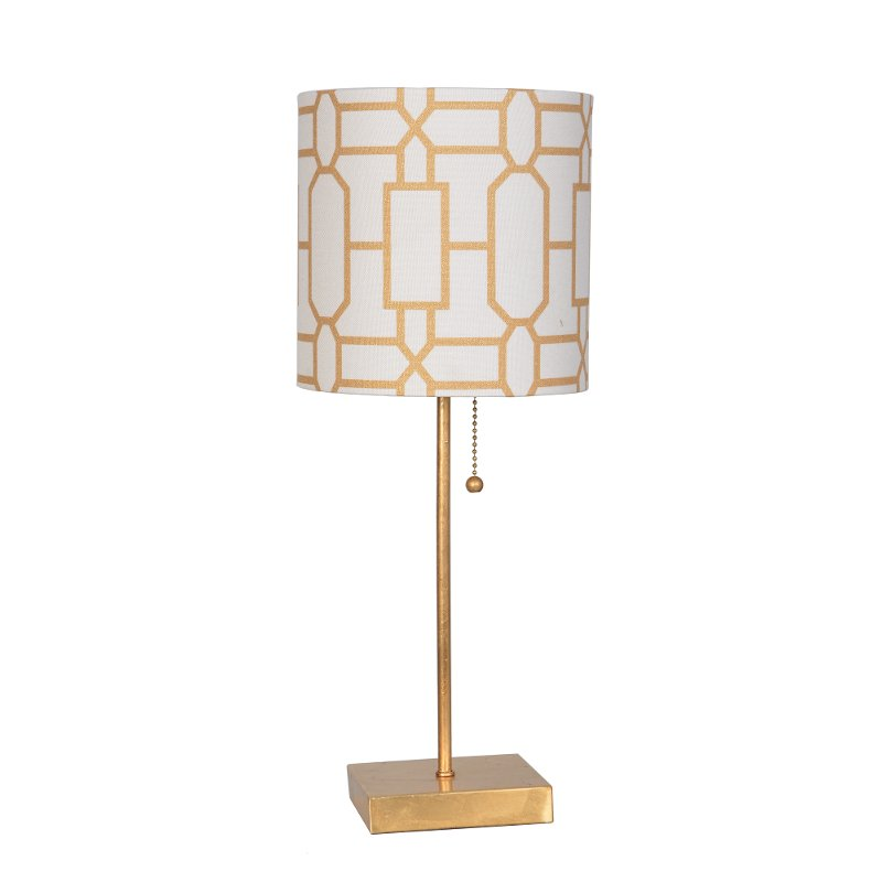 20 Inch Gold Leaf Metal Table Lamp With Pull Chain Rc Willey