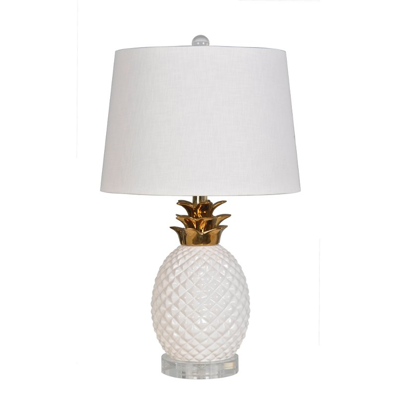 22 Inch Glossy White And Gold Plated Pineapple Table Lamp