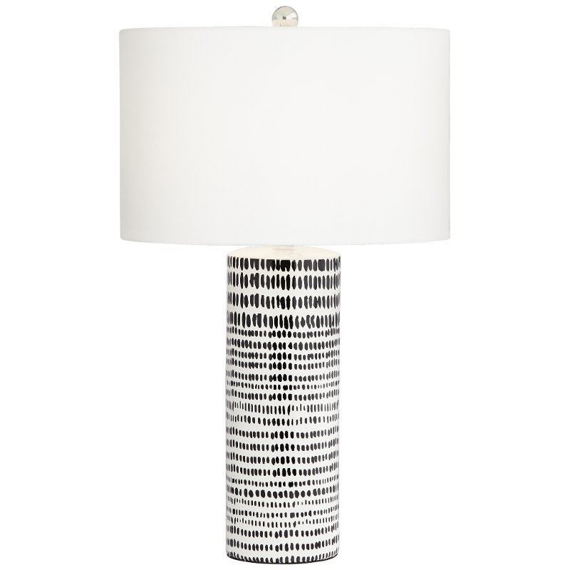 White Ceramic Table Lamp With Black Stripes