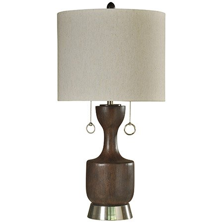 34 Inch Walnut Transitional Table Lamp, Twin Pull Chain Table Lamp