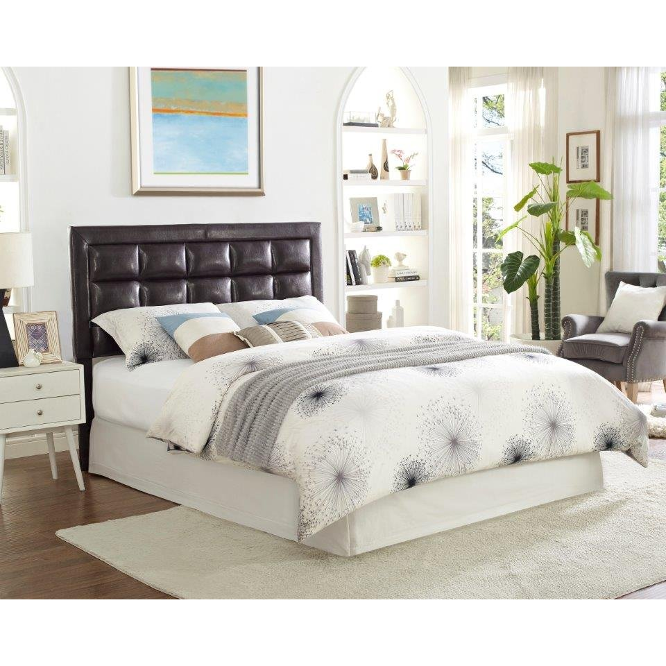 Contemporary espresso brown full queen headboard twilight