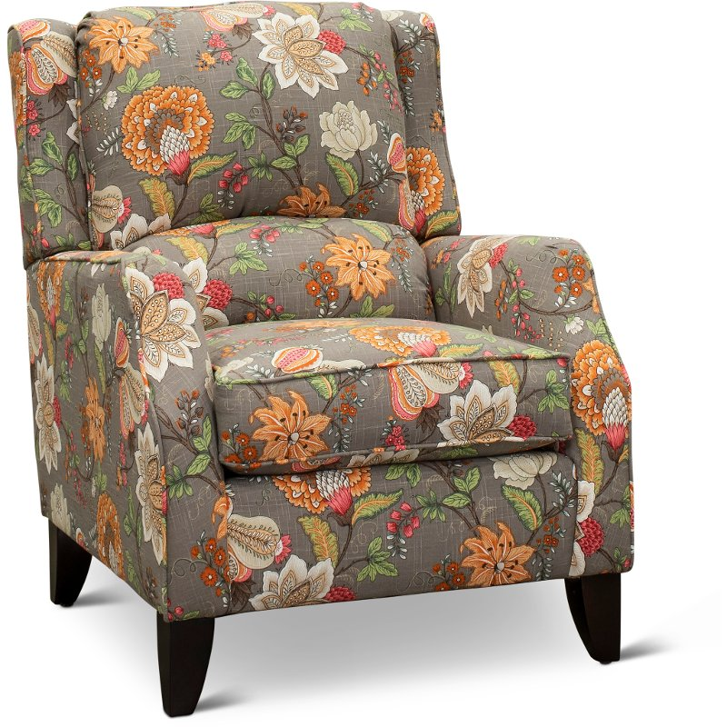 Terrific Taupe Floral Wingback Accent Chair Rochelle Bralicious Painted Fabric Chair Ideas Braliciousco