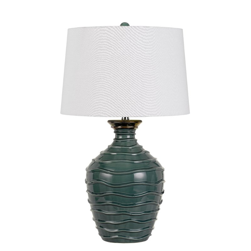 29 Inch Blue Green Ceramic Wave Pattern Table Lamp Rc Willey