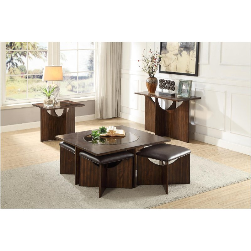Cherry Brown Coffee Table With Ottomans Akita