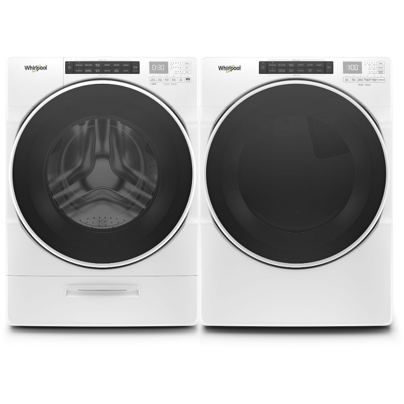 Whirlpool Closet Depth Laundry Pair With Front Load Washer And Gas Dryer White Rc Willey Furniture Store