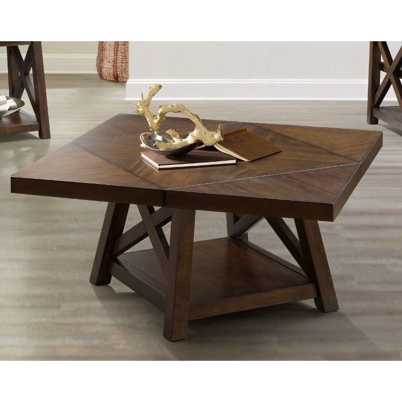Cherry Brown Flip Top Coffee Table Cherry Rc Willey Furniture Store
