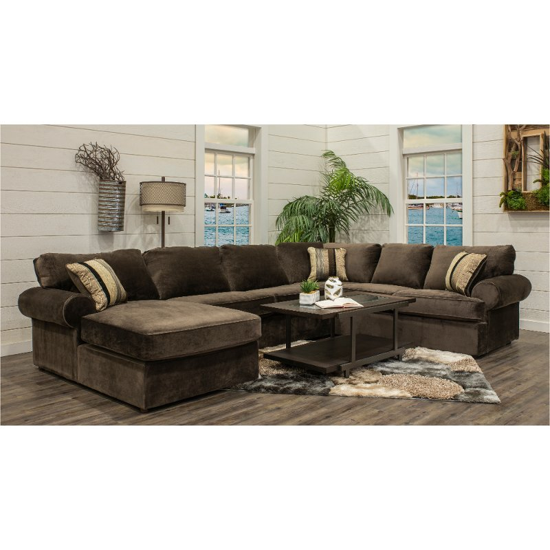 Chocolate Brown 3 Piece Sectional Sofa With Laf Chaise Napa