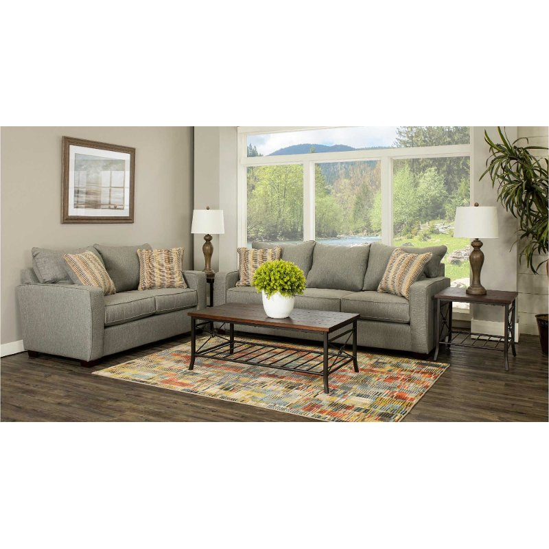 Stone Gray 7 Piece Living Room Set with Sofa Bed - Gavin
