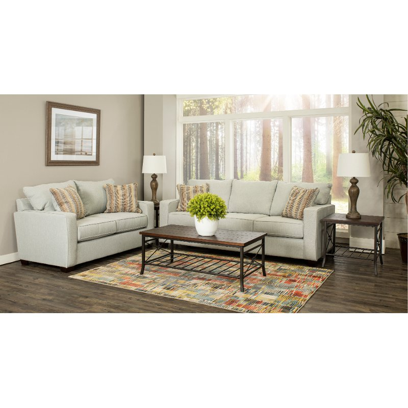 Contemporary Sky Gray 7 Piece Living Room Set - Gavin