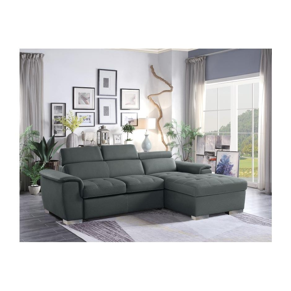 Gray Sectional Sofa with Pullout Sofa Bed and Right-Side Storage ...