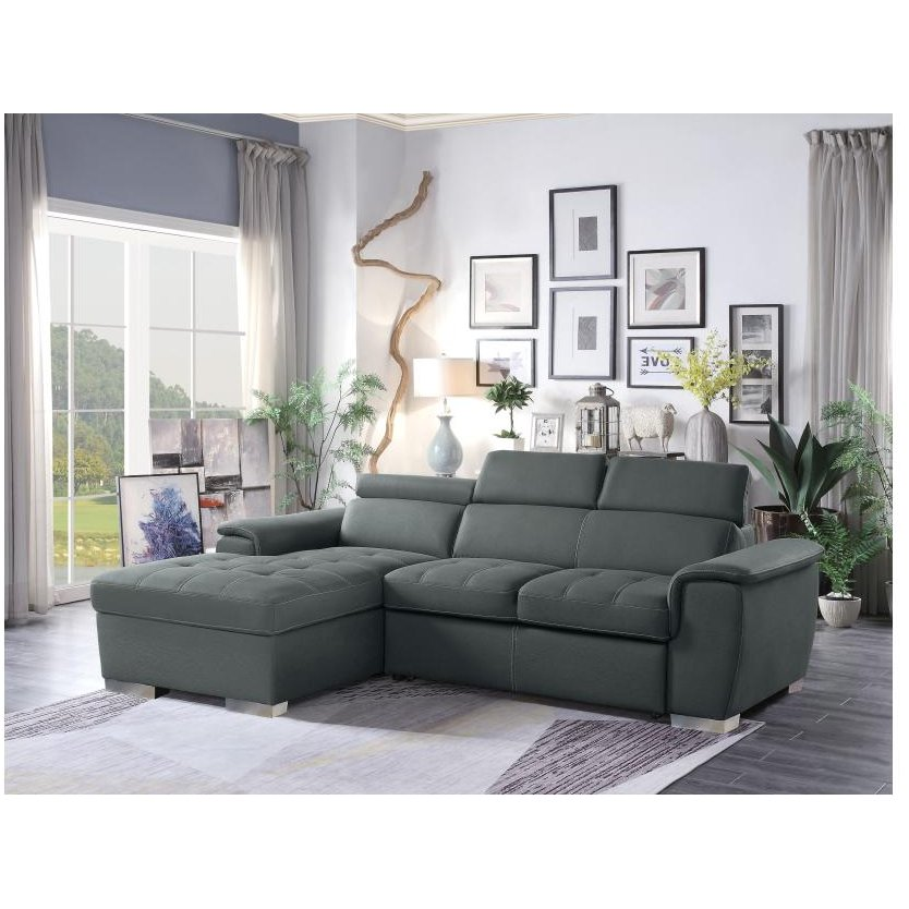 Gray Sectional Sofa with Pullout Sofa Bed and Left-Side Storage ...