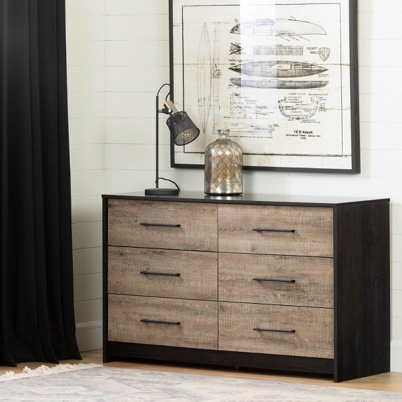 Contemporary Weathered Oak and Brown 6 Drawer Dresser - Londen