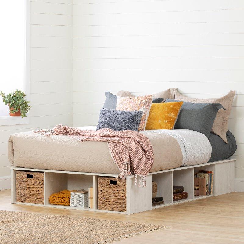 Oak White Full Storage Platform Bed With 2 Baskets