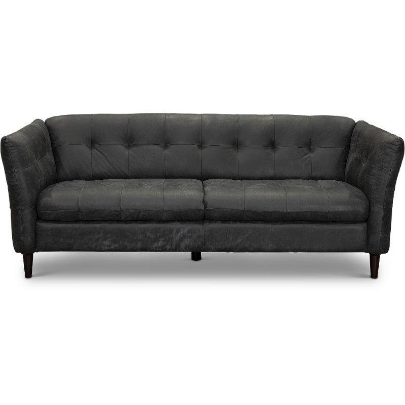 Mobili Zona Living Chateau D Ax.Contemporary Black Leather Sofa Ivan