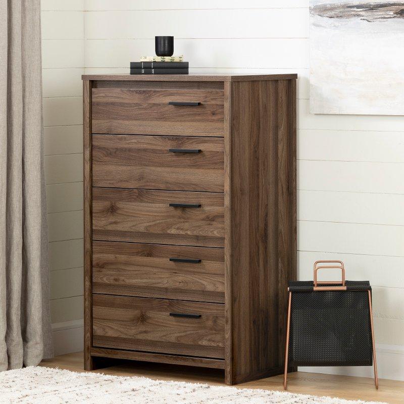 Modern Walnut 5 Drawer Chest Tao Rc Willey Furniture Store