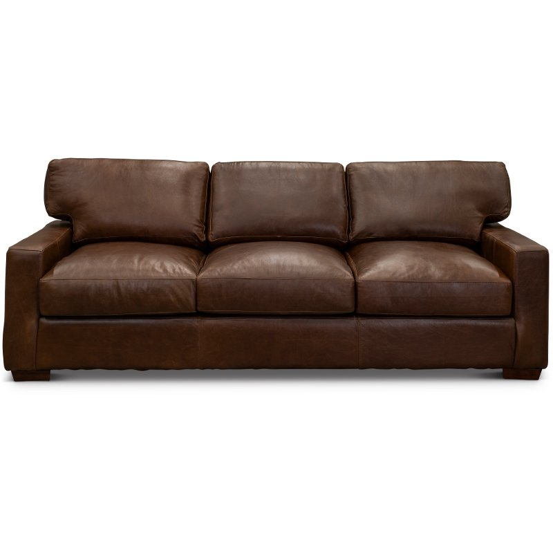 Contemporary Brown Leather Sofa Native Rc Willey