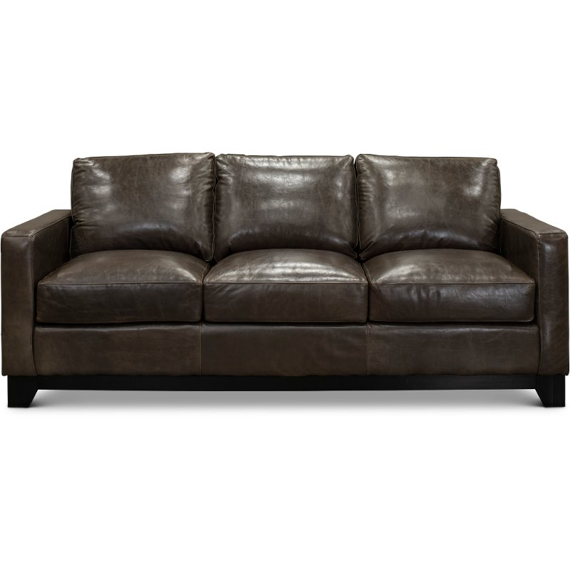 Contemporary Gray Brown Leather Sofa Maui Rc Willey Furniture Store