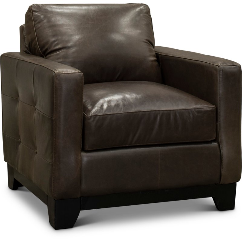Contemporary Gray Brown Leather Chair Maui Rc Willey Furniture Store