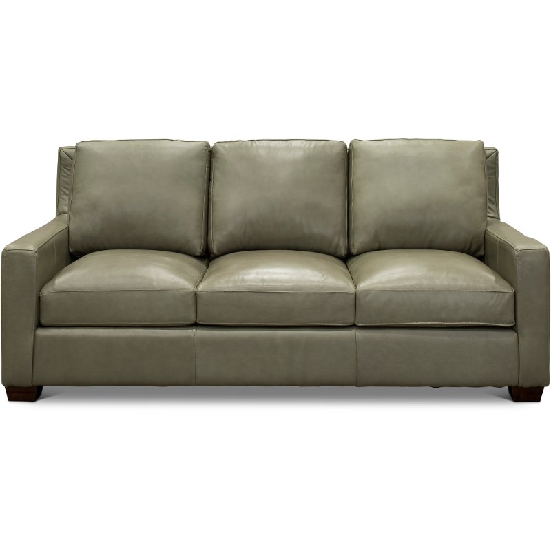 Contemporary Sage Green Leather Sofa - Logan | RC Willey Furniture Store