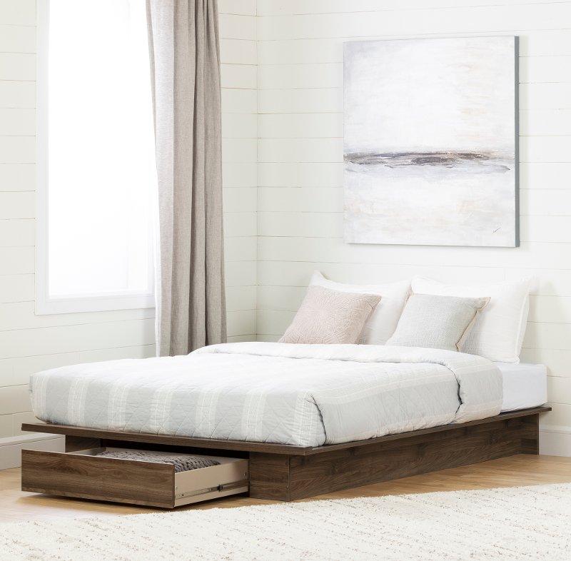 Modern Walnut Platform Full Queen Storage Bed Tao Rc Willey Furniture Store