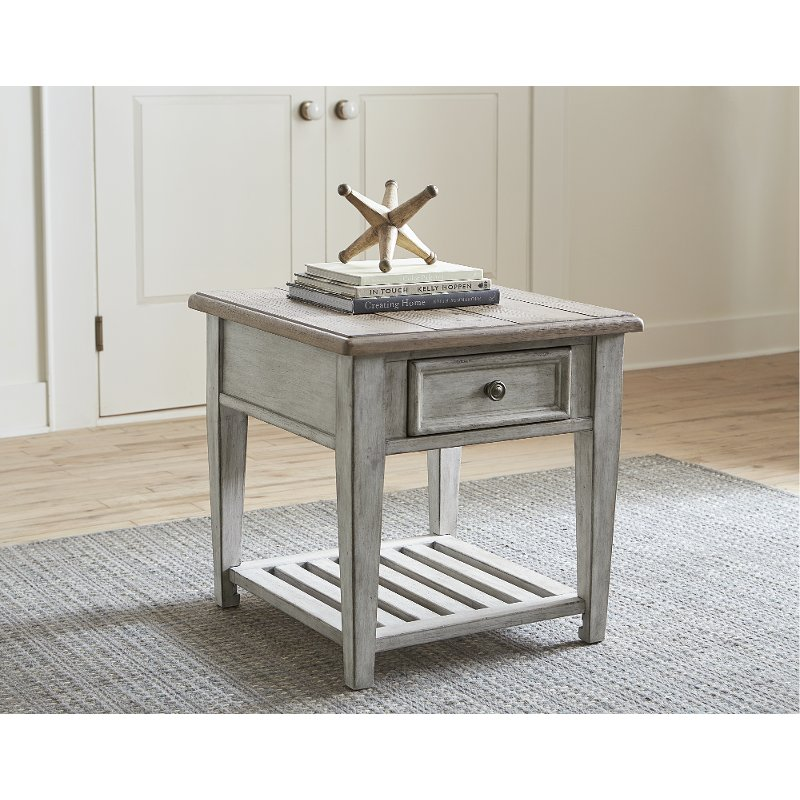 Weathered White Oak End Table With Drawer Heartland