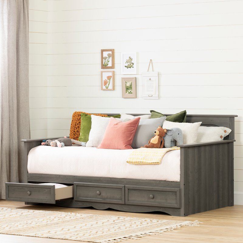 Beau Cottage Gray Daybed With 3 Storage Drawers   Savannah | RC Willey Furniture  Store