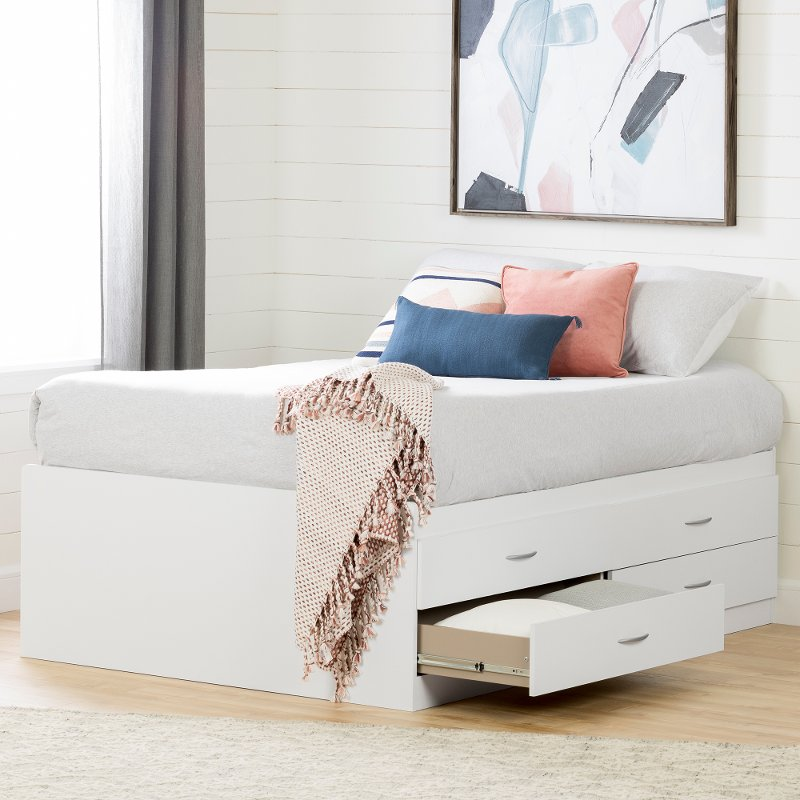 White Captain Platform Full Size Storage Bed With 4 Drawers Step