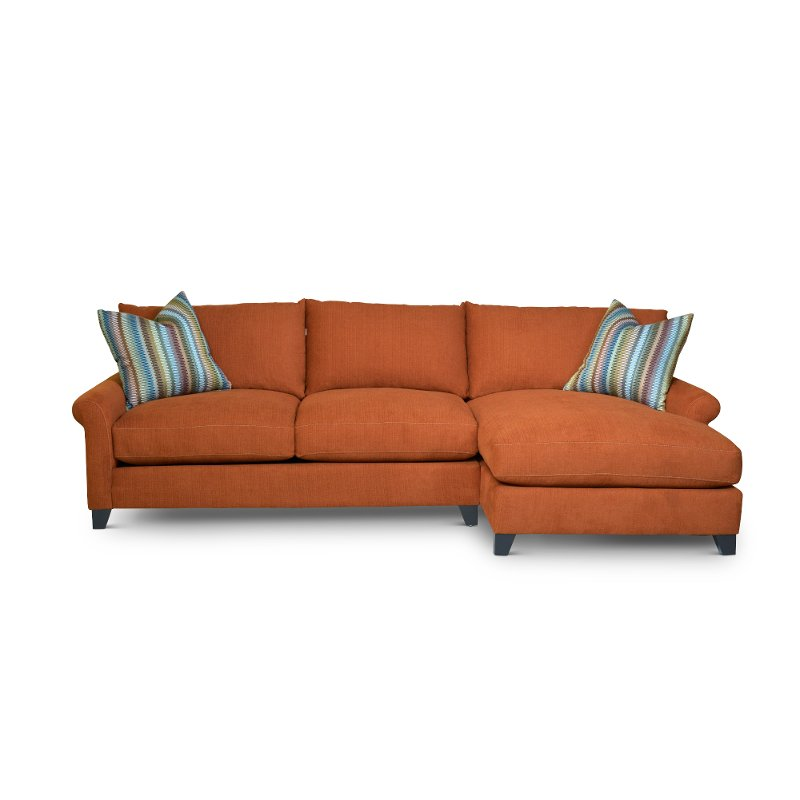 Orange 2 Piece Sectional Sofa With Raf Chaise Owen Rc Willey