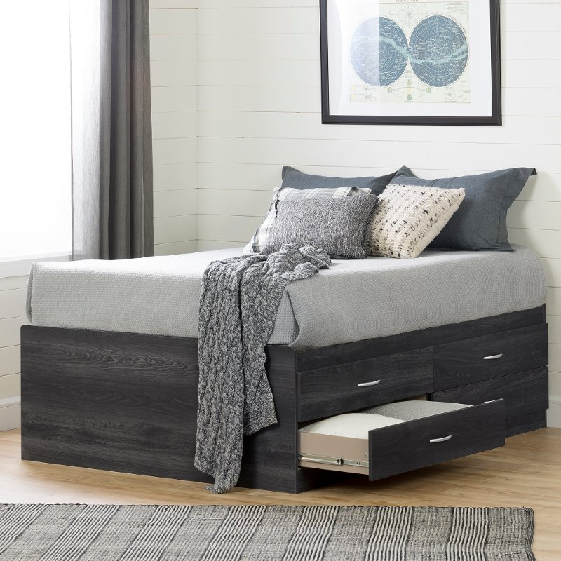 Gray Captain Platform Full Size Storage Bed With 4 Drawers