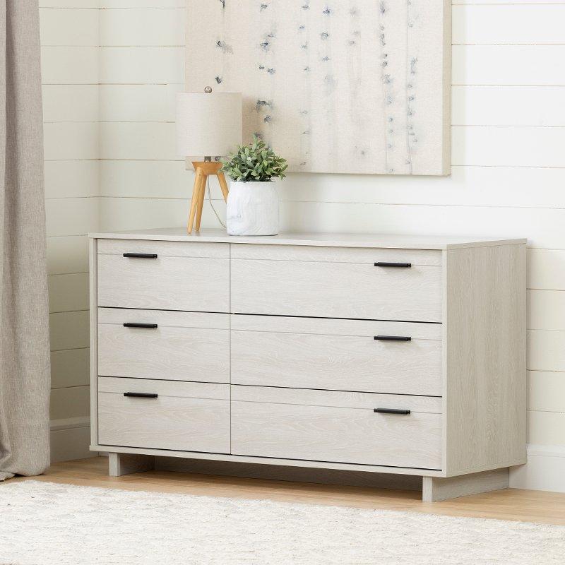 Rc Willey Dressers: Modern Light Gray Oak Dresser - Fynn