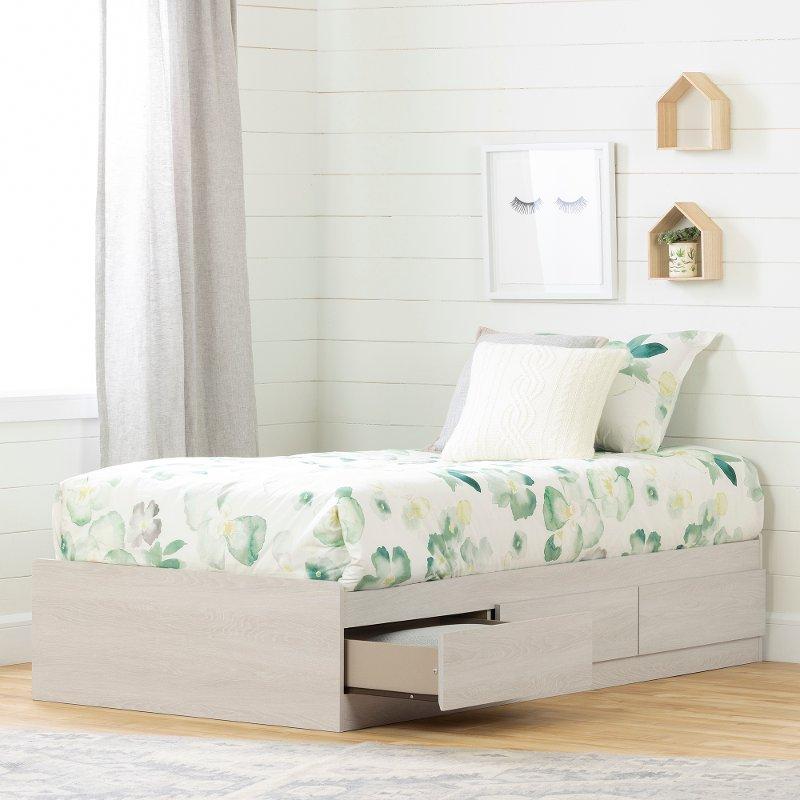 Modern Light Gray Twin Storage Platform Bed Fynn Rc Willey Furniture Store