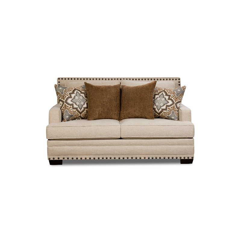 Casual Traditional White Linen Loveseat Anna