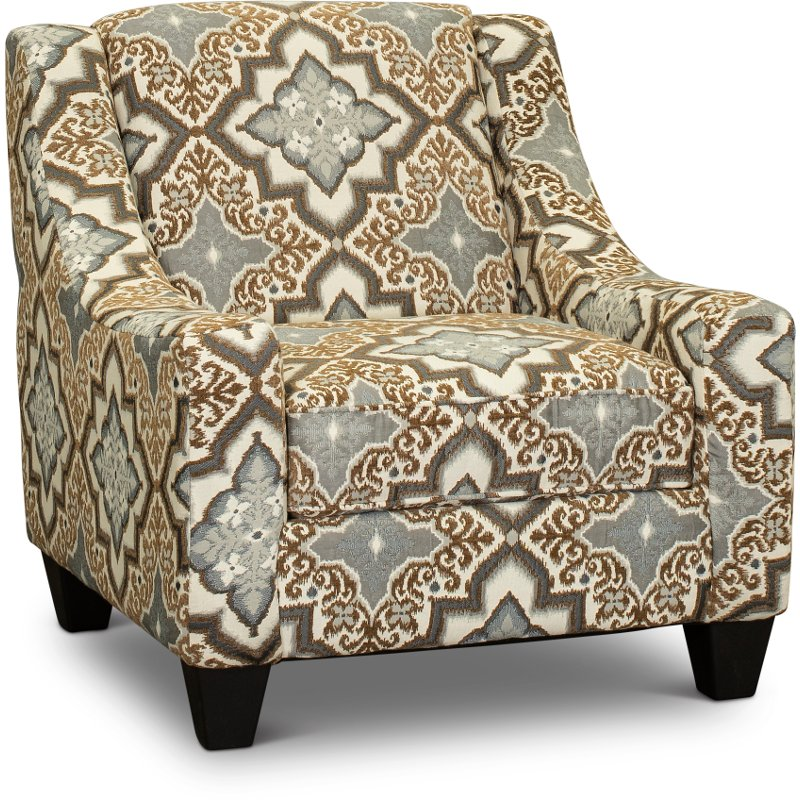 Admirable Casual Traditional Brown And Blue Accent Chair Anna Ibusinesslaw Wood Chair Design Ideas Ibusinesslaworg
