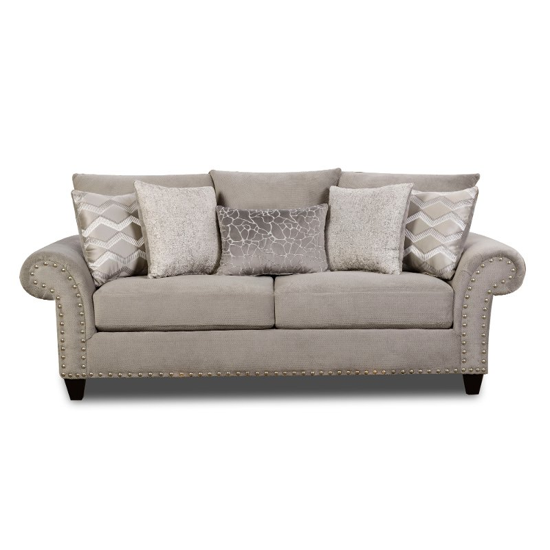 Traditional Platinum Gray Sofa Camino Rc Willey Furniture Store