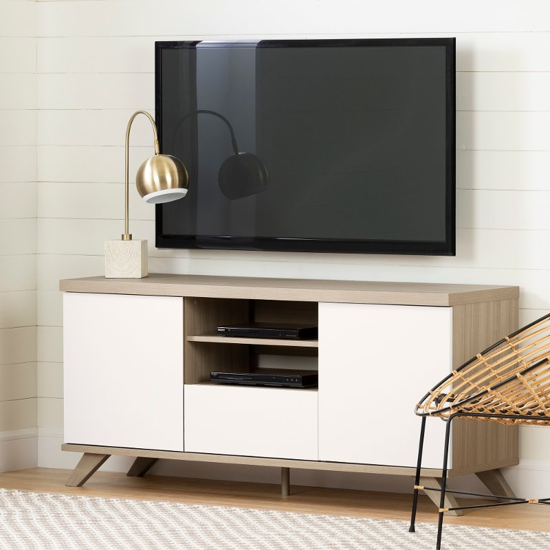 Soft Elm And Pure White 60 Inch Tv Stand Cinati Rc Willey