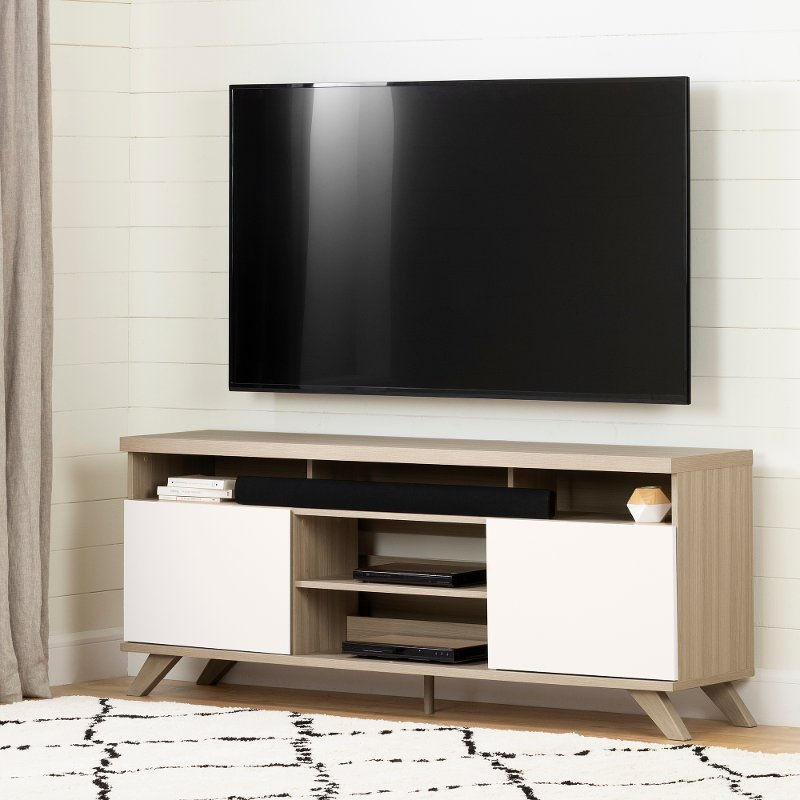 Soft Elm And Pure White 70 Inch Tv Stand Cinati Rc Willey