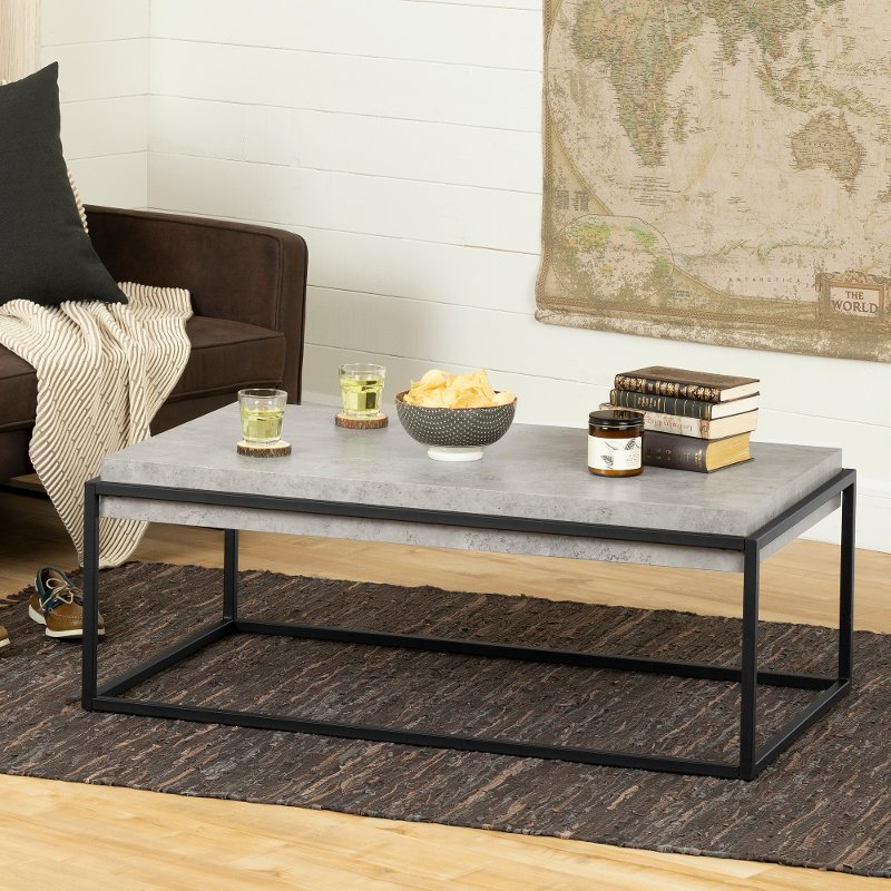 Excellent Concrete Gray And Black Coffee Table Mezzy Theyellowbook Wood Chair Design Ideas Theyellowbookinfo