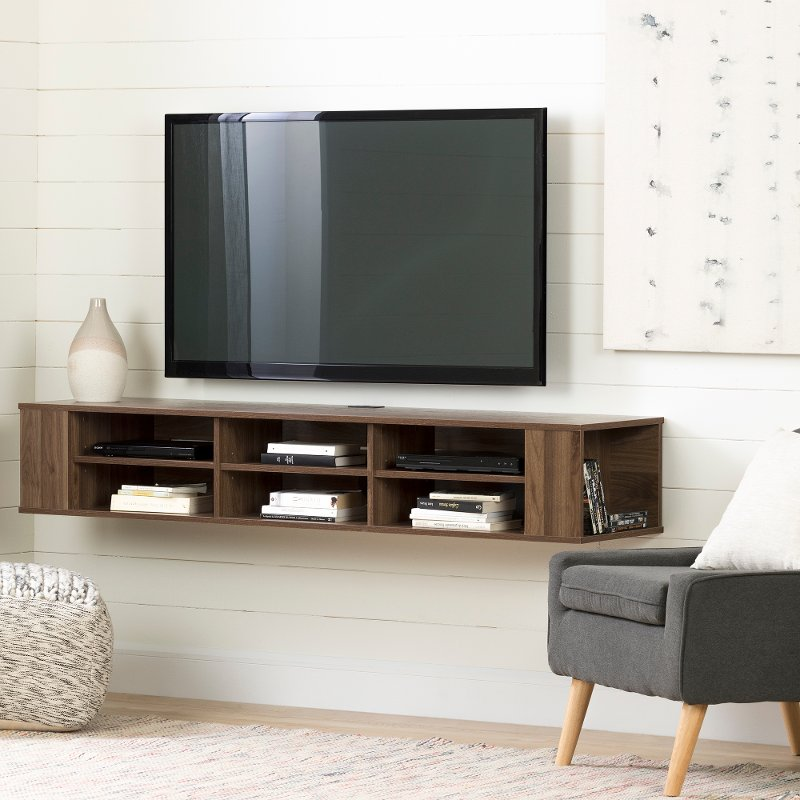 Natural Walnut 66 Inch Wall Mounted Tv
