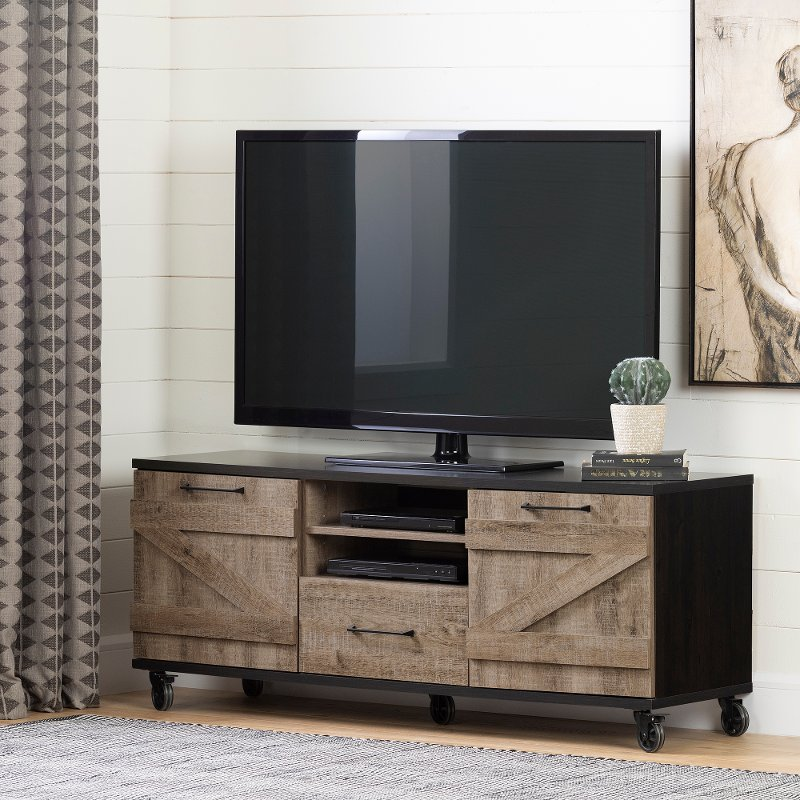 Weathered Oak And Ebony 60 Inch Rolling Tv Stand Valet Rc Willey