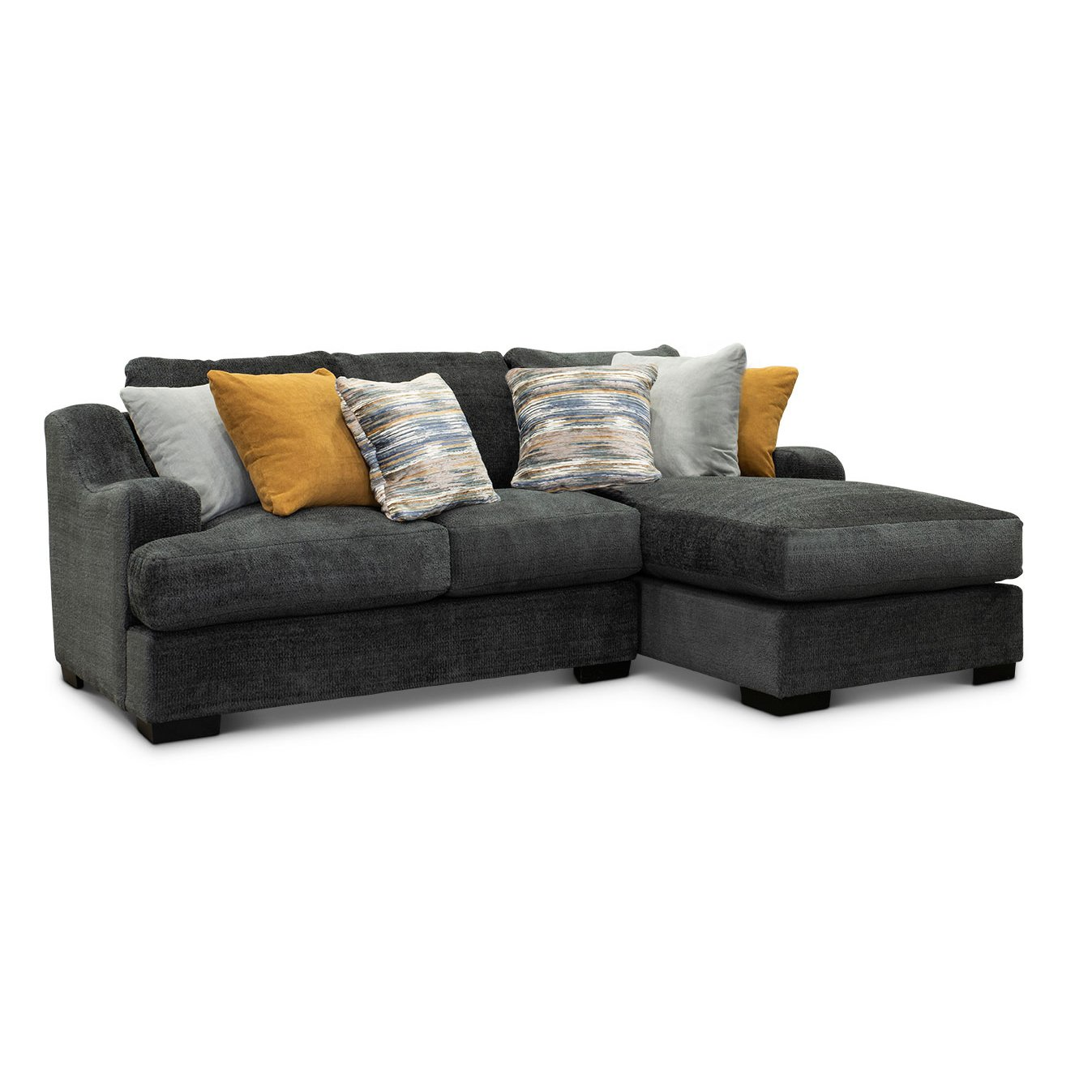 Gray 2 Piece Sectional Sofa with RAF Chaise - Challenger