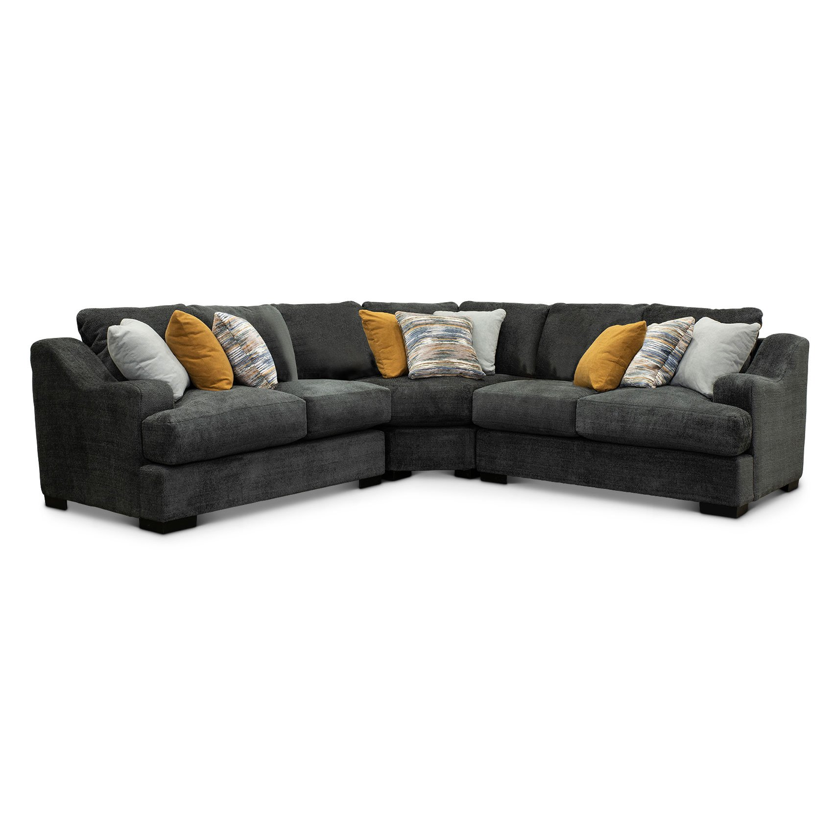 Graphite Gray 3 Piece Sectional Sofa - Challenger | RC Willey
