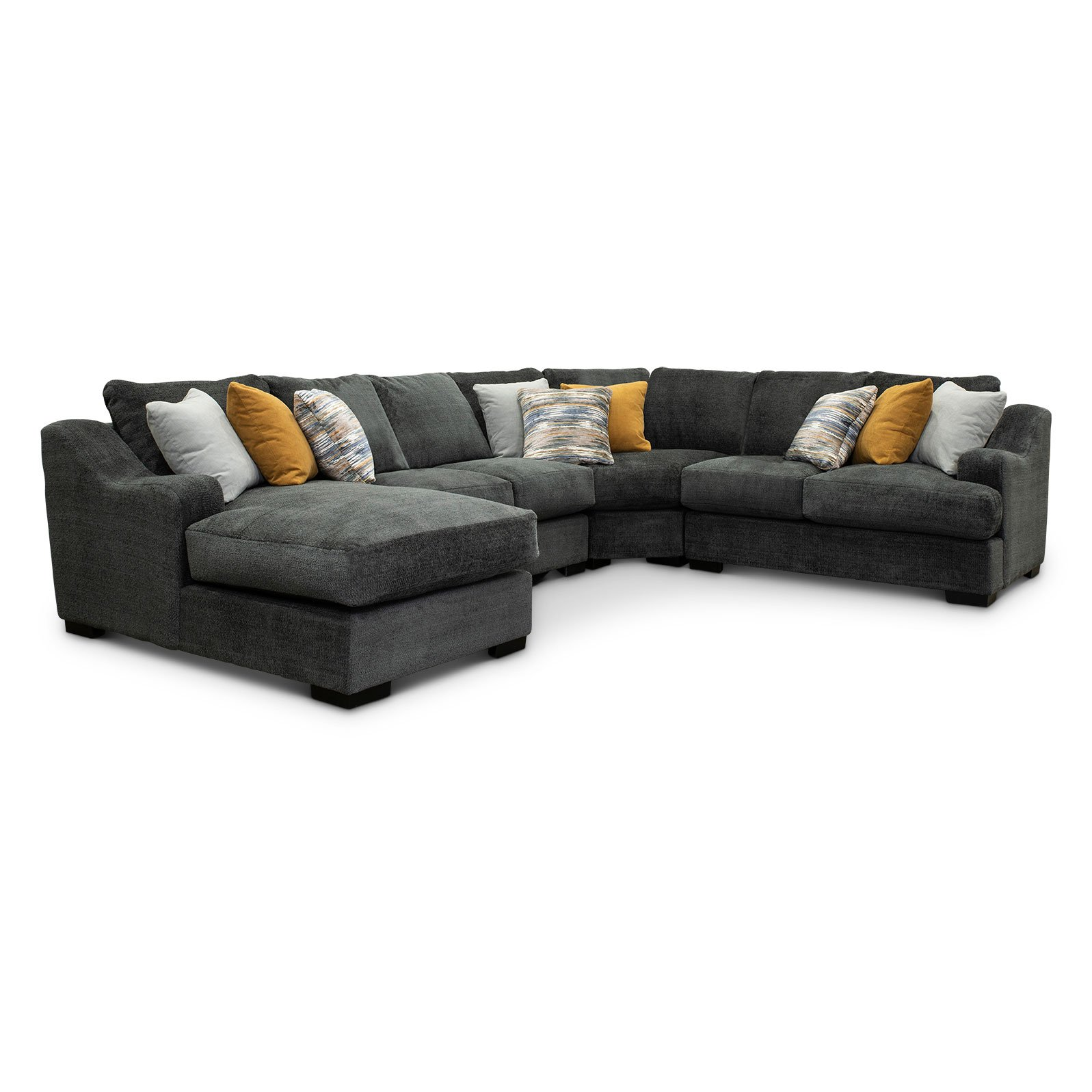Graphite Gray 4 Piece Sectional Sofa With Laf Chaise Challenger Rc Willey Furniture Store
